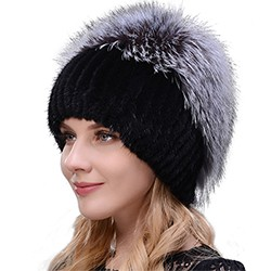 Middle aged women in the winter: mink fur women's knitted sweater hat new fashion European and American cat style ski caps 11