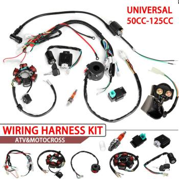 110CC Coil Harness Ignition System Set Complete Electrics Wiring Harness Motorcycle Lgnition Set for 50cc 70cc 90cc 110cc 125cc for 50cc 110cc 125cc pit quad dirt bike atv motorcycle cdi wiring harness loom solenoid ignition coil rectifier
