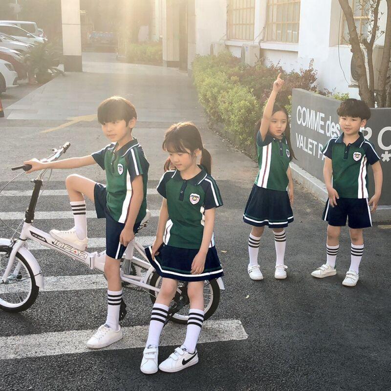 Kindergarten Suit Summer Wear 2019 New Style Children Sports Clothing Set Young STUDENT'S Business Attire School Uniform Graduat
