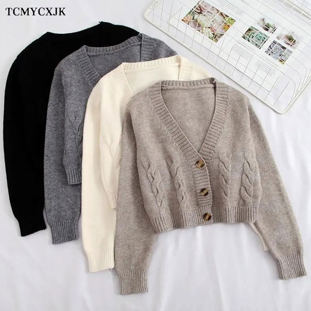 Short High Waist Slim Cable V-neck Sweater Women Spring And Autumn 2021 New Single-breasted Knitted Cardigan Twist Small Jackets 5
