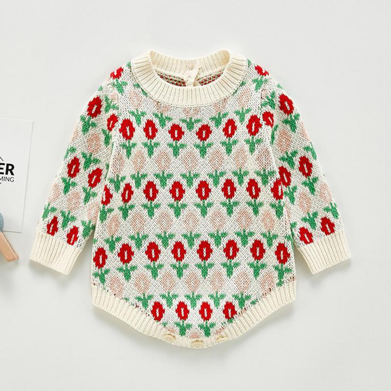 Baby Knitted Bodysuit Clothes Autumn Girls Long Sleeve Jumpsuit Kids Sweaters Baby Girls Bodysuits Baby Sweater 1