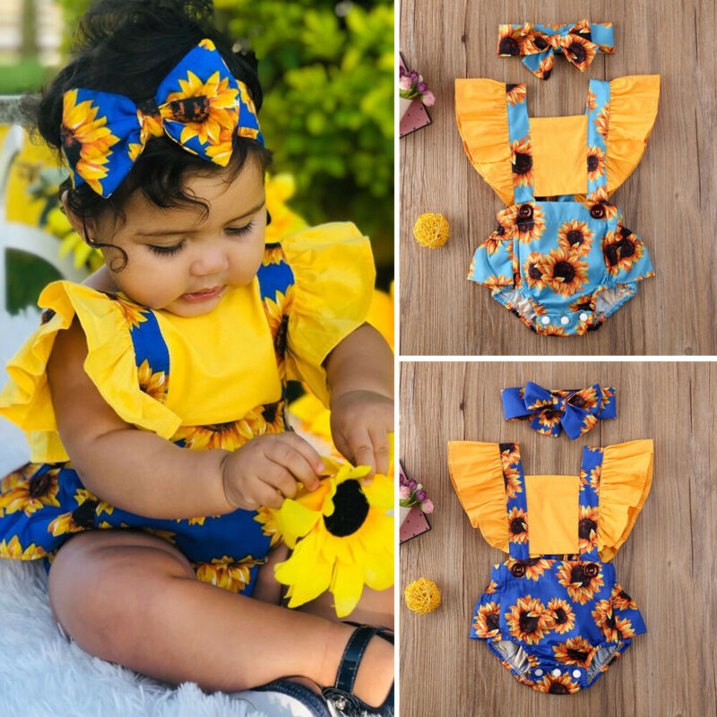 Summer New Fashion Newborn Kids Baby Girls Summer Outfits Clothes Daily Bodysuit Flower Romper Headband Wholesale