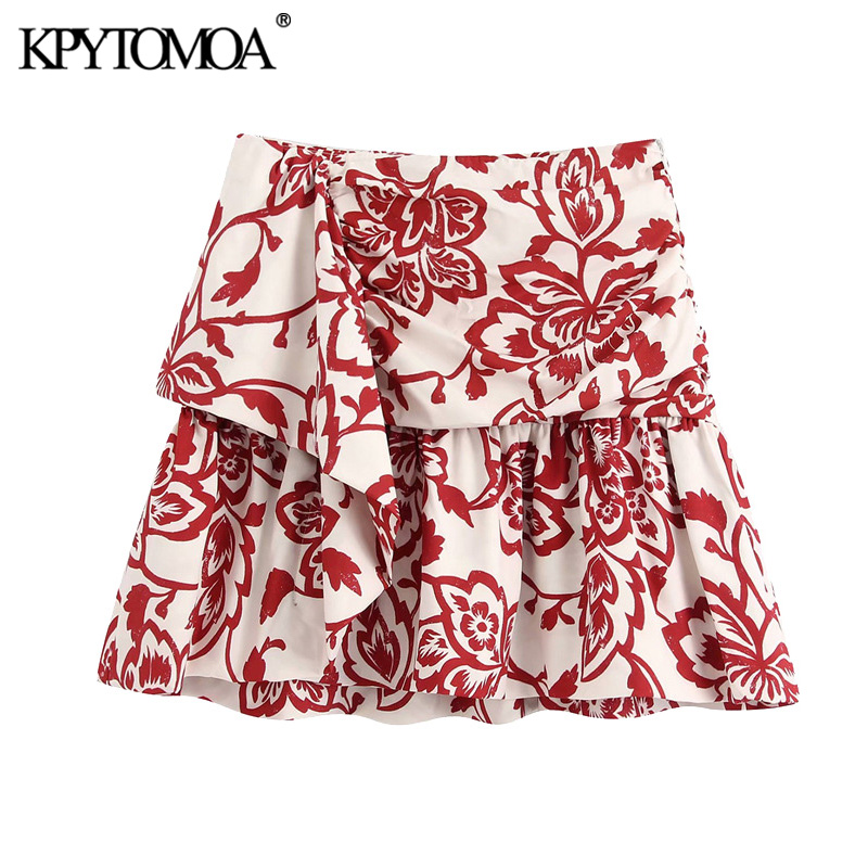 KPYTOMOA Women 2020 Chic Fashion Printed Ruffled Mini Skirt Vintage High Waist Size Zipper Female Skirts Casual Faldas Mujer