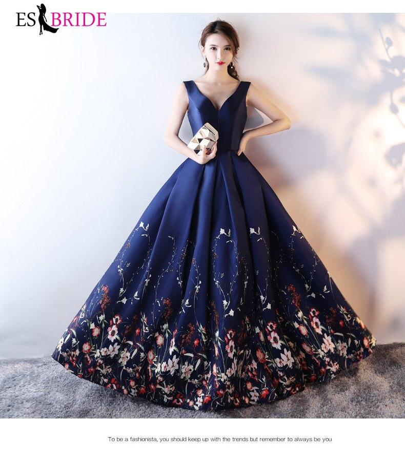 ES2774 Floral Print evening dress 2019 Deep Blue V Neck formal dresses evening gown evening satin dresses vestidos de fiesta