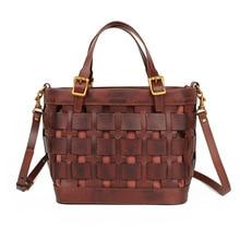 2020 new fashion women summer cowhide knitting handbags soft totes with strap shoulder bag