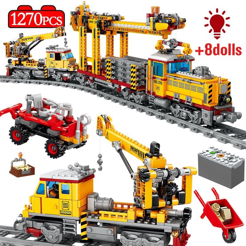 Городской трек, Электрический инженерный поезд, мощный светильник, звуковой строительный блок, техника, автомобиль, сделай сам, кирпичи, обу...
