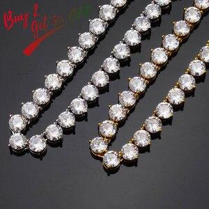 Image 2 - TOPGRILLZ Bling 3 Prong naszyjnik łańcuch tenisowy 4mm 6mm mężczyźni hip hop amulet złoty/srebrny kolor biżuteria Iced Out aaa sześcienne cyrkonie