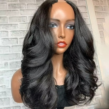 Luźna fala Glueless Remy włosy 100% ludzki włos indyjski pełna maszyna peruki 2x4 bliski U część tanie peruka dla kobiet 180 gęstość U część