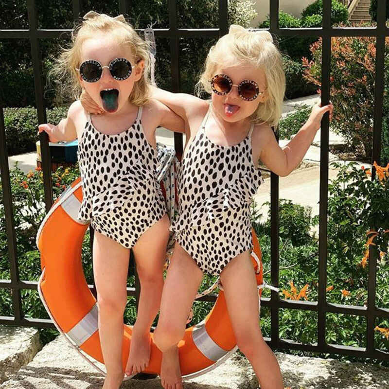 USA Stock Baby Kids Girl Leopard print Swimwear Swimsuit Beach Swimming Costume