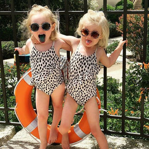 USA Stock Baby Kids Girl Leopard print Swimwear Swimsuit Beach Swimming Costume(China)