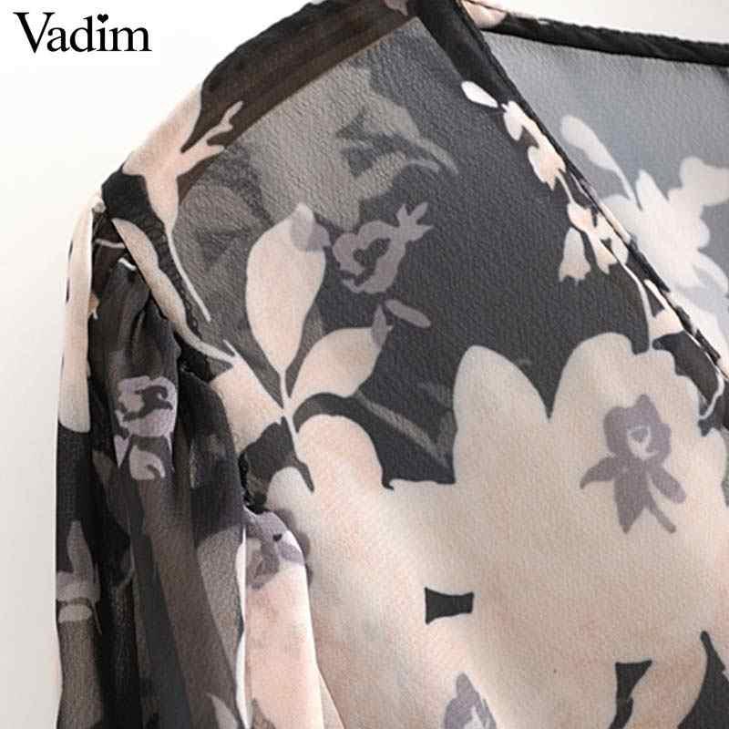 Vadim נשים שיק פרחוני הדפסת שיפון midi שמלה ארוך שרוול רוכסן צד לראות דרך נשי אופנה שמלות vestido mujer QC959