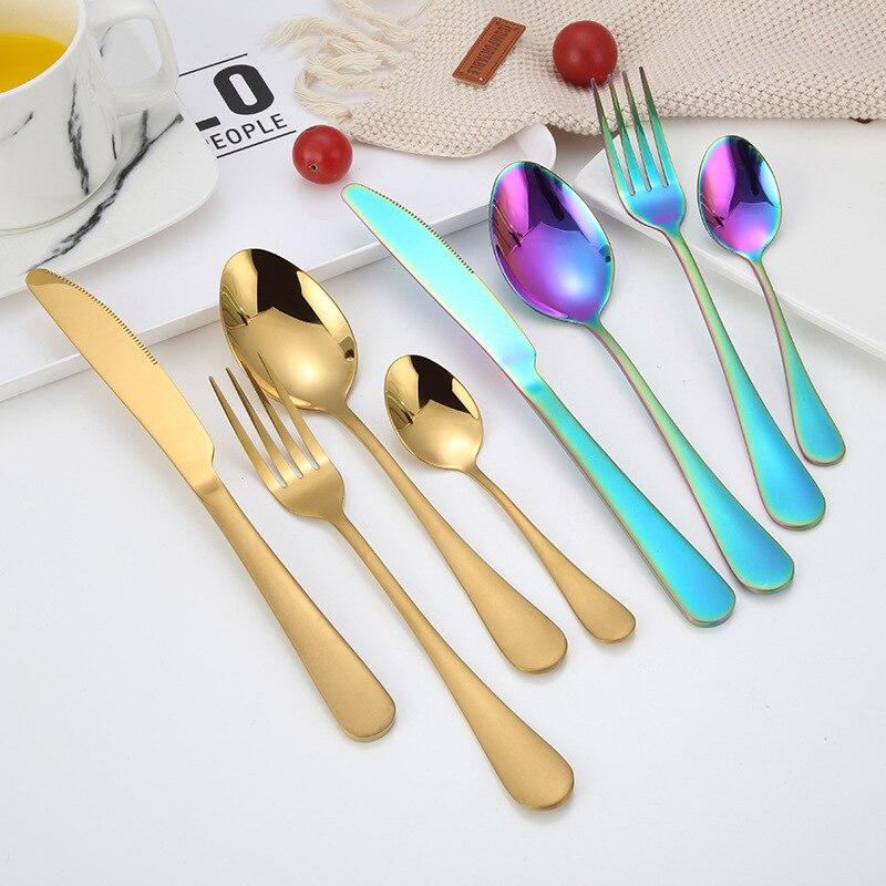 Вилки, ножи, ложки Нержавеющаясталь набор серебряных изделий посуда набор столовых приборов ножи наборы Чай обеденная Ложка свадебный наб...