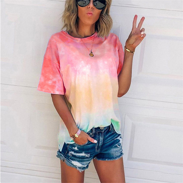Women's 2020 Summer T-shirt New Oversized Tops Clothing Leisure Gradient Print Loose Short Sleeve T-shirts Casual Plus Size 5XL