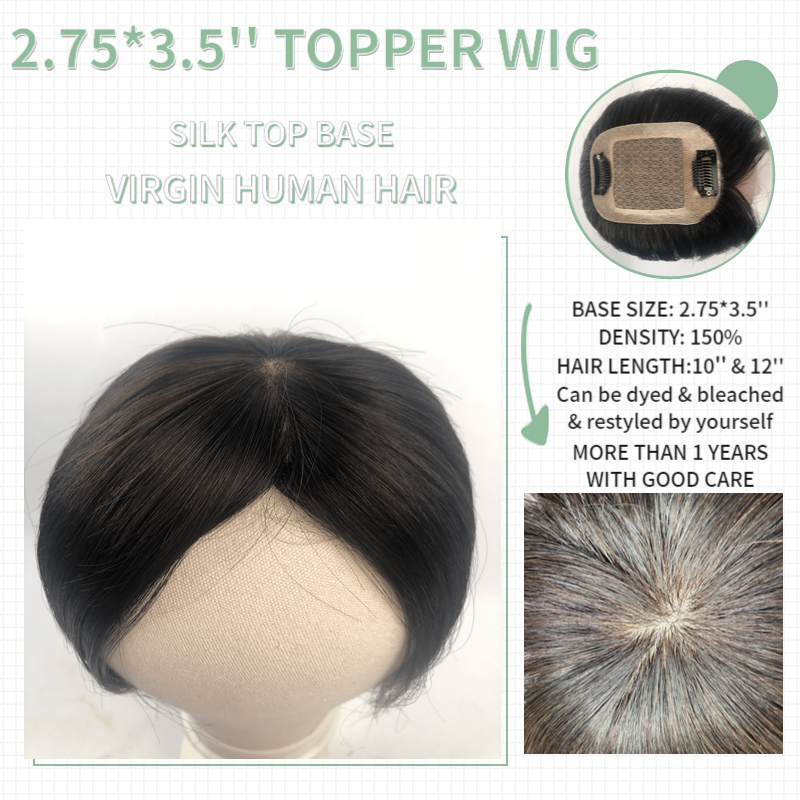 Vlasy 2.75*3.5'' 150% Density Silk Top Base Hair Topper Wig Fine Mono Net With Clip In Hair Toupee Remy Hairpiece Natural Color