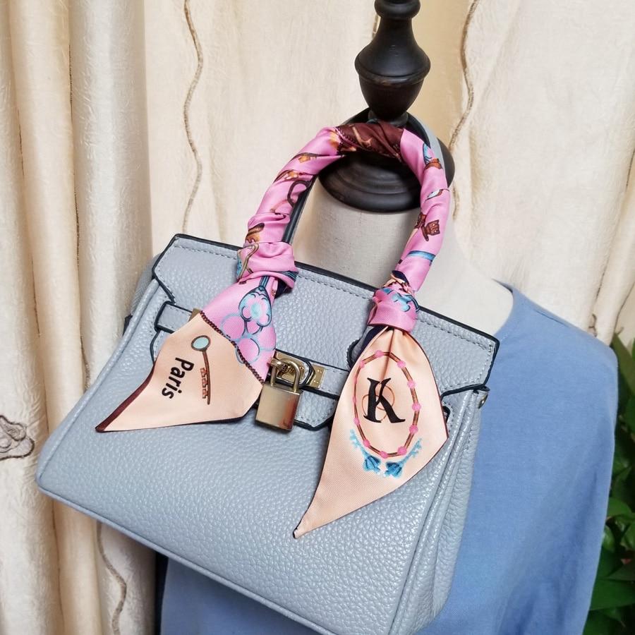 Women Letter Fashion Choker Bright Skinny Scarf Digital Print Ribbon Headband Stylish Bag Decoration Neckwear