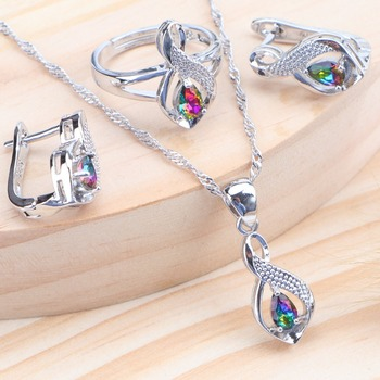 Wedding 925 Sterling Silver Bridal Jewelry Sets Luxury Zircon Magic Rainbow Kids Jewelry Earrings Necklace Ring For Women jexxi gorgeous rainbow clear zircon wedding party jewelry sets women square 925 sterling silver pendant necklace earrings set