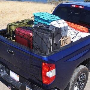Image 3 - Universel voiture coffre bagages rangement Cargo organisateur filets 120x90cm élastique maille filet avec crochets Auto intérieur accessoires