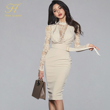 H Han Queen-vestido ajustado sexi de mujer, Vestidos tubo ajustados hasta la rodilla de encaje, vestido elegante de mujer 2020