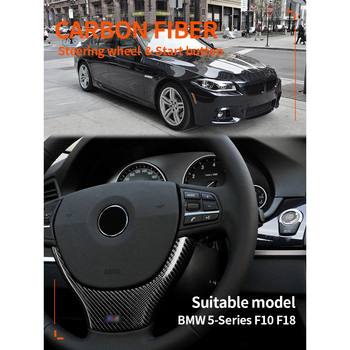 Carbon Fiber Steering Wheel Trim Black Interior Cover Decoration Sticker