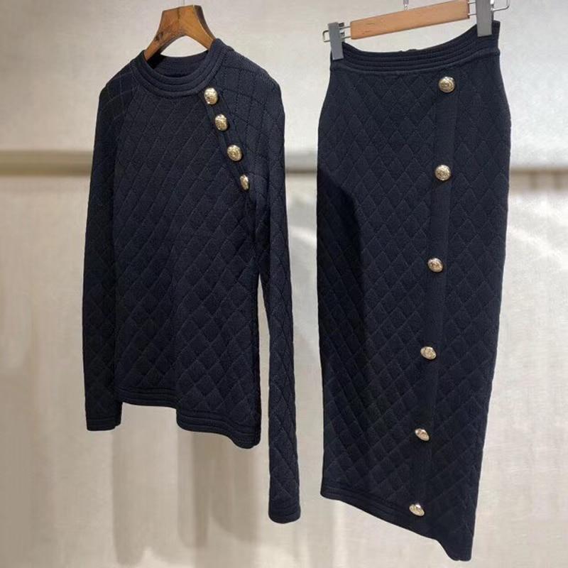 Women Autumn Knitted Set Two Piece Set Women Skirt Top 2019 Long Sleeve Cardigan And Long Skirt Suit
