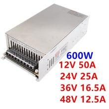 MW 600W 12V 50A/24 V 25A/36 V 16.5A/48 V 12.5A de conmutación fuente de alimentación transformador AC DC