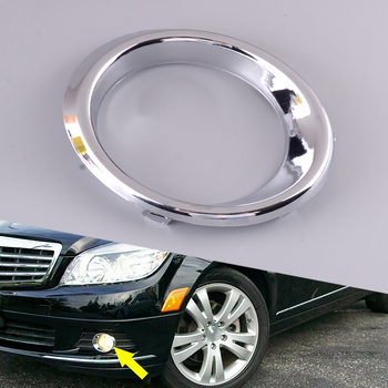 ABS Silver Front Left Side Bumper Fog Light Cover Fit For Mercedes Benz C Class W204 C300 C350 2008 2009 2010 2011 2048850574 image
