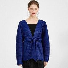 Corea 2020 nueva primavera cuello en V encaje-up Color sólido abrigo mujer Vintage casual manga murciélago suelta chaqueta plisada ropa PD108