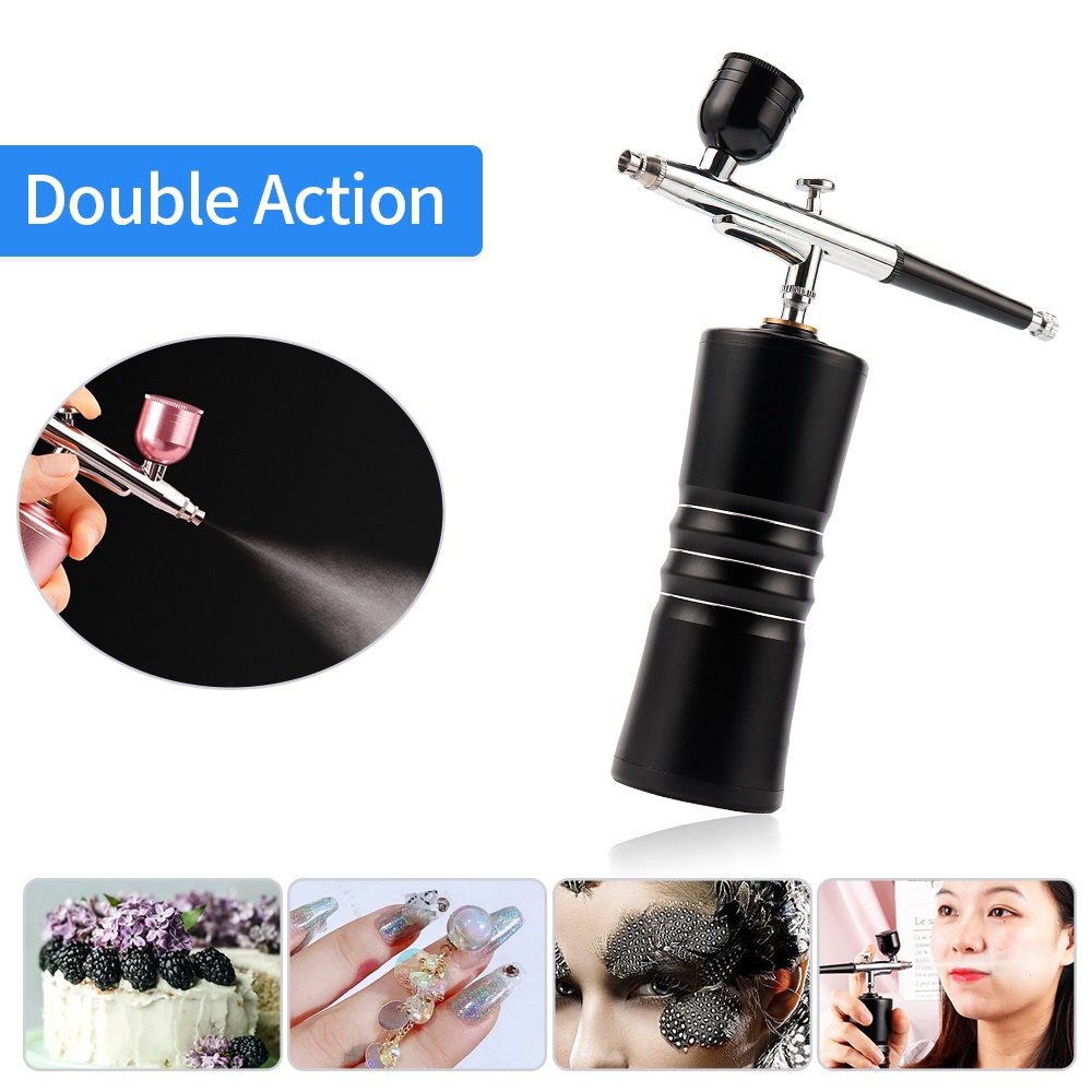 NEW Double Action USB Charge Protable Airbrush Air Compressor Spray Gun For Cake Nail Art Face&Body Tattoo Make Up Paint Sprayer