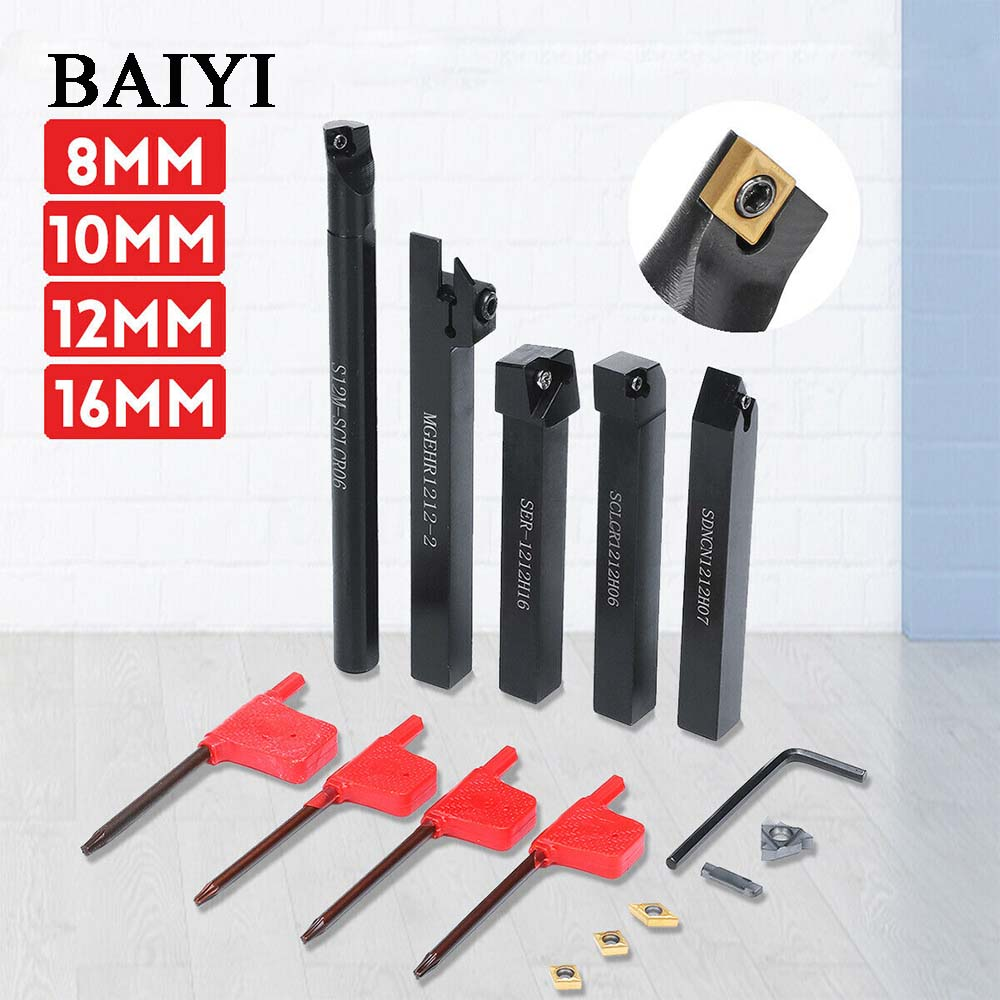 5Pcs 8mm/10mm/12mm/16mm SDNCN SCLCR SCMCN MGEHR CNC Lathe Turning Tool Holder Set With Insert Wrenches