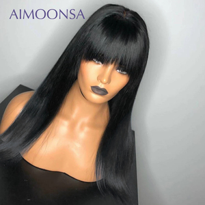 Image 2 - Bang Wig Human Hair Straight Pre Plucked 360 Lace Frontal Wig With Baby Hair Wig With Bangs 150 Density Preplucked Lace Wig Remy