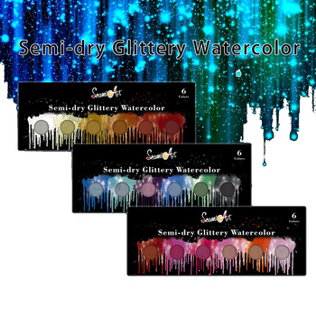 6 Colors Glittery Solid Watercolor Paint Set Pearlescent Pigment Students Watercolor Paint For Drawing Art Supplies