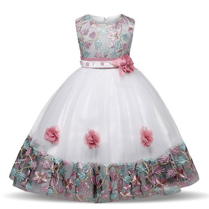 New Children's Flower Dress 3 4 5 6 7 8 Years Old Lace Color Matching Girls Princess Party Dress Summer Baby tutu Gown Clothing(China)