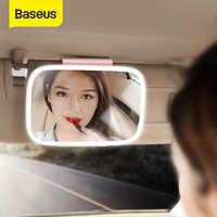 Baseus 8.3 Polegada espelho de viseira de sol do carro espelho de maquiagem cosméticos automático espelhos de sombreamento com luz led chargable