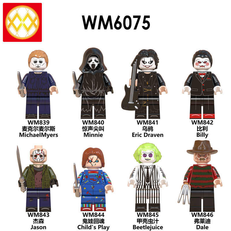 WM6075 Horror Halloween Zombie Freddy Jack Skellington Michael Myers Minnie Eric Draven Bill Jason Building Blocks Toys Children