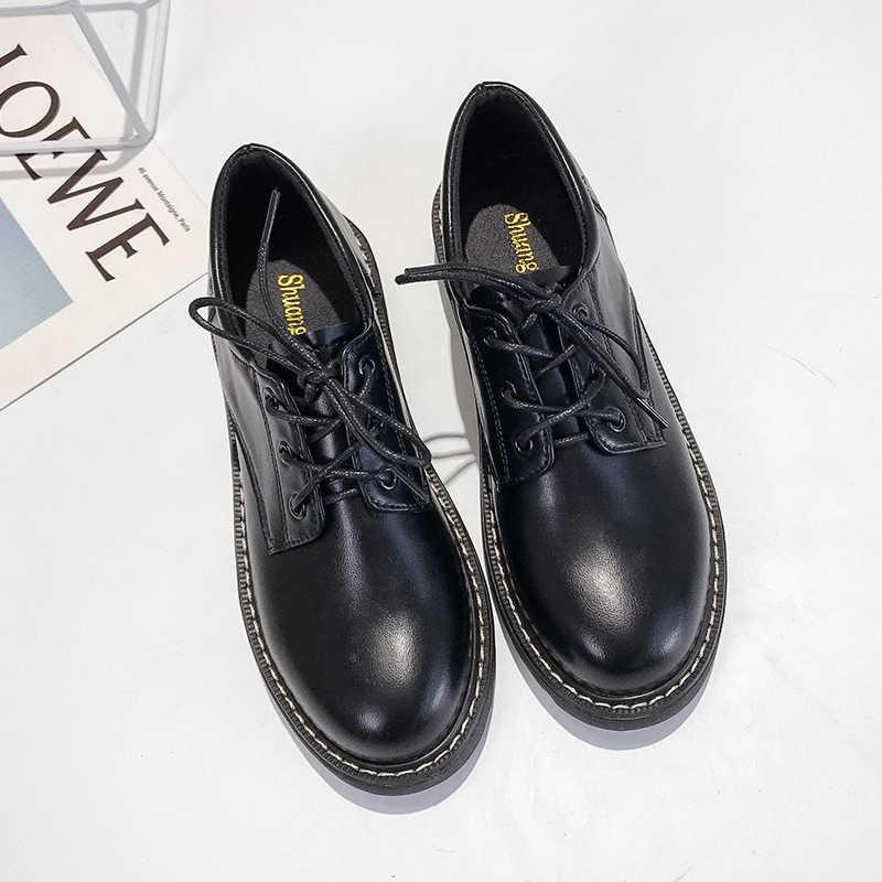 2020 Thương Hiệu Giày Người Phụ Nữ Giày Mũi Tròn Đen Giày Oxford Cho Đế Phẳng Thoải Mái Slip On Nữ Giày Nữ Giày Đi Dạo