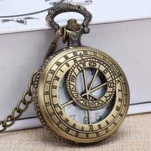 Hollow Compass Map Fob Watches Fashion Quartz Pocket Watch Vintage Necklace Pendant Clock Gift Bronze Chain Necklace