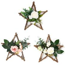 Home Decoration Crafts Artificial Flower Wreath Wooden Pentagram Hanging Decorations Wall Window Wedding Decor Tools Accessories