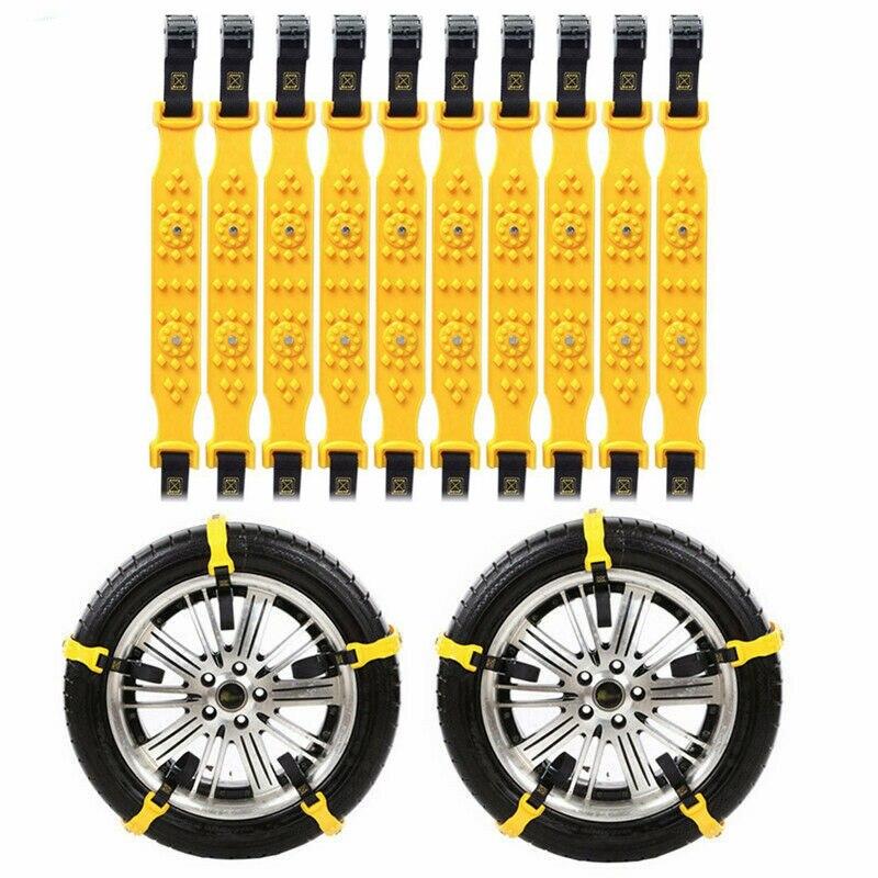 10PCS Auto Reifen Schnee Ketten Winter Schnee Reifen Ketten Schlamm Reifen Anti-Skid Gürtel Notfall Fahren Gürtel Auf räder