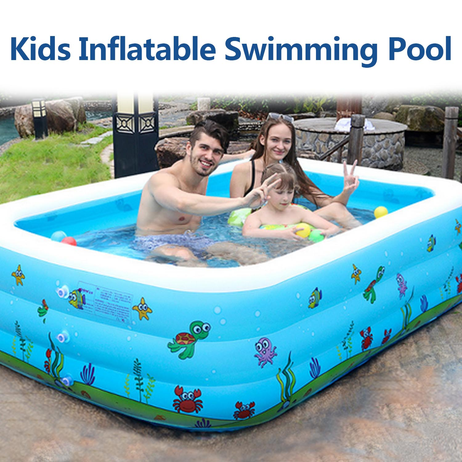 130/110CM Kids Inflatable Pool Family Rectangular Inflatable Swimming Pool Bathing Tub Kids Indoor Outdoor Summer Swimming Pool