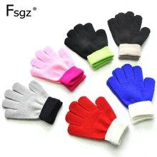 Детские вязаные перчатки для детей от 5 до 12 лет, спортивные перчатки для занятий спортом на открытом воздухе для защиты рук и пальцев, лоскутные акриловые утолщенные рукавицы для детей