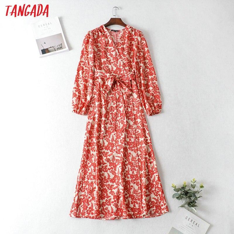 Tangada Fashion Women Red Flowers Print Maxi Dress V Neck Slash Long Sleeve Ladies Loose Long Dress Vestidos JA11