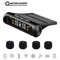 Car TPMS Wireless Solar Tire Pressure Monitoring System External Sensor Tyre Pressure Detector Realtime Alarm Warning USB Charge