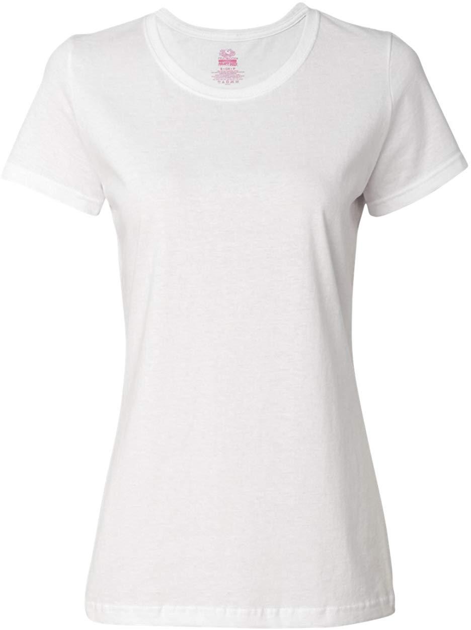 2020 Fruit Of The Loom Ladies 5 Oz HD Cotton T-Shirt - White - S - (Style # L3930R - Original Label)