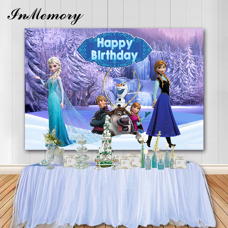 InMemory Frozen Theme Princess Annaa Birthday Backdrop Baby Shower Photographic Studio Backgrounds Professional Photo Booth Prop