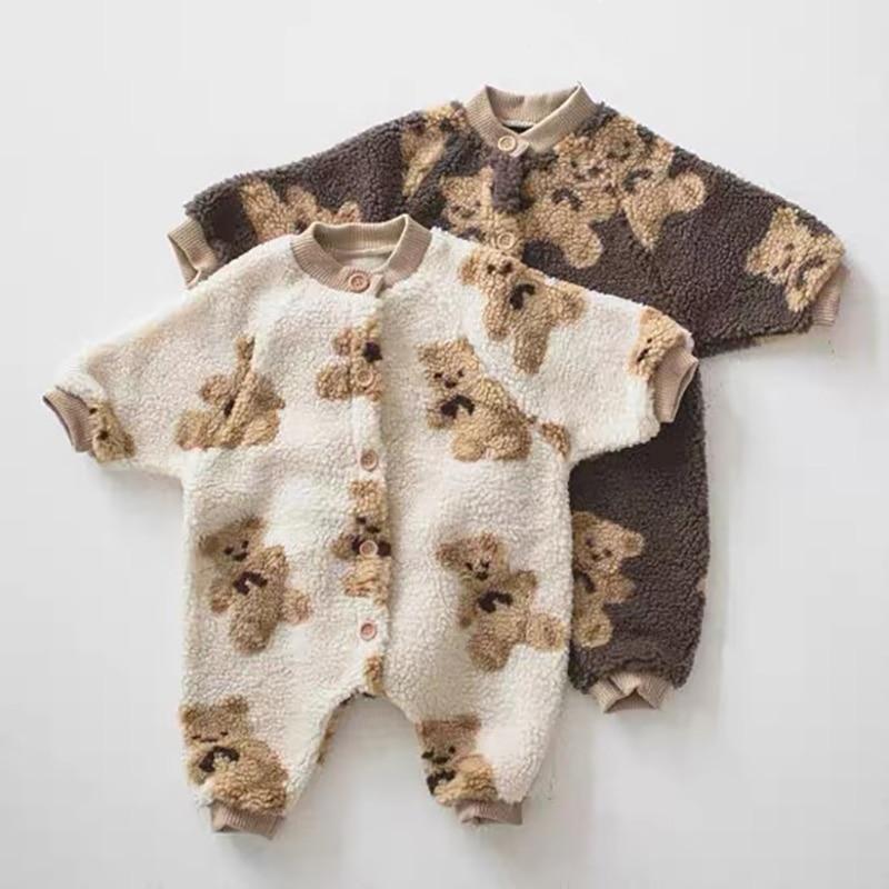 2020 детские комбинезоны MILANCEL в стиле медведя, Комбинезоны для маленьких мальчиков, одежда для девочек с одной грудью, флисовый Детский костюм 1