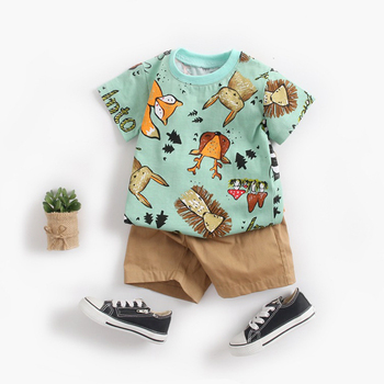цена на BINIDUCKLING Toddler Newborn Baby Boys Kids Clothes Set Cotton Cartoon Animal T-shirt+Shorts Summer Baby Boy Clothing Sets 2020