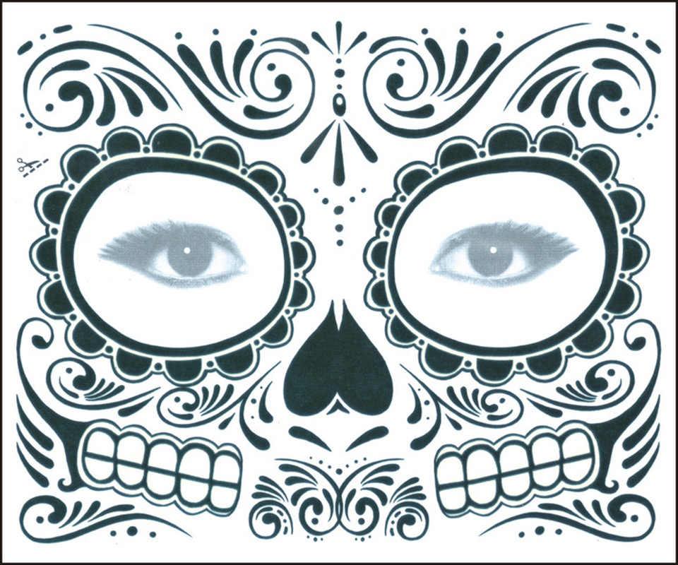 1 PC Zombie Hari Orang Mati Tato Sementara Masker Kostum Sugar Skull Keren Desain Wajah Penuh Masker Pesta