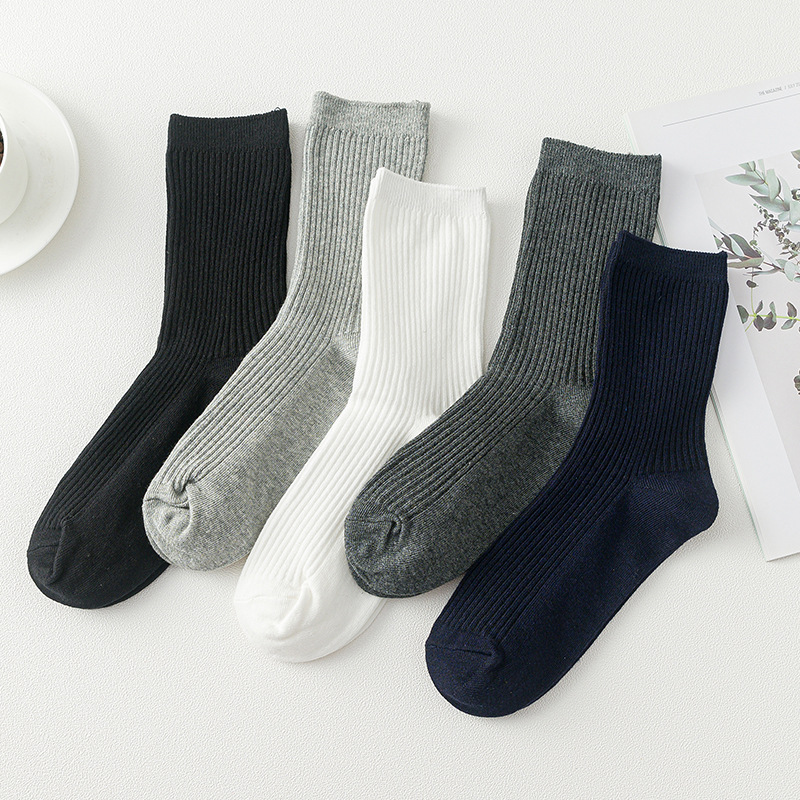 Sokken Socks Men Autumn And Winter New Men's Vertical Stripes Cotton Tube Socks Solid Color Sweat-absorbent Breathable Casual
