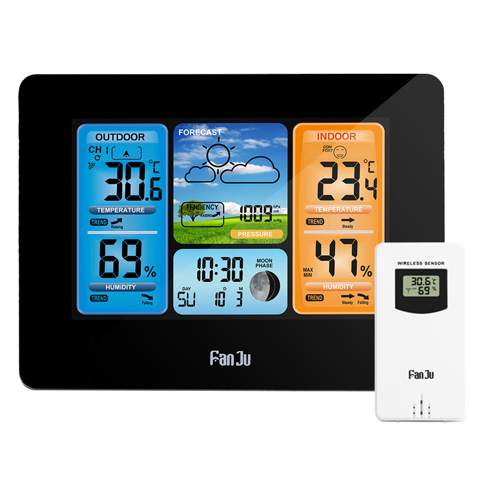 LCD Wireless Weather Station Alarm Clock Digital Thermometer Hygrometer Barometer Forecast Daily clock NEW