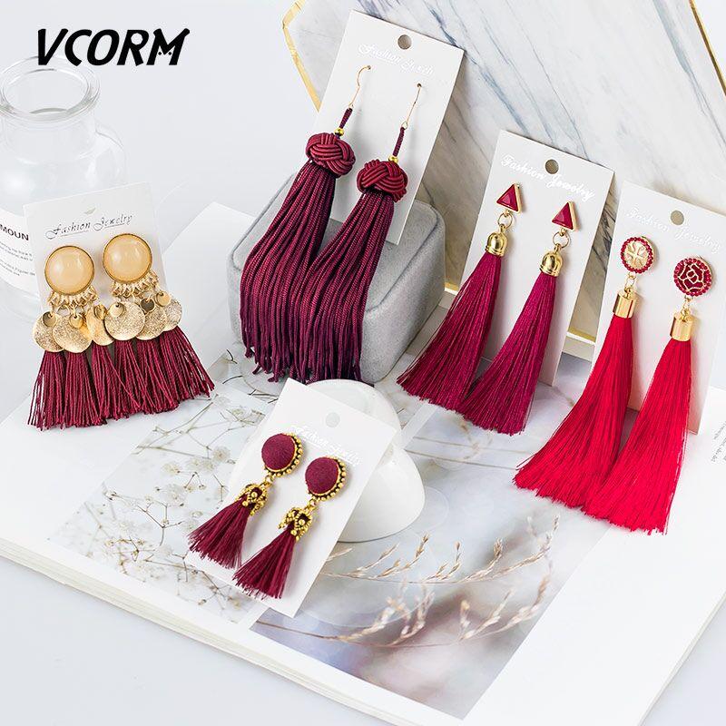 VCORM Bohemian Tassel Crystal Long Drop Earrings For Women Red Cotton Silk Fabric Fringe Earrings 2019 Fashion Woman Jewelry